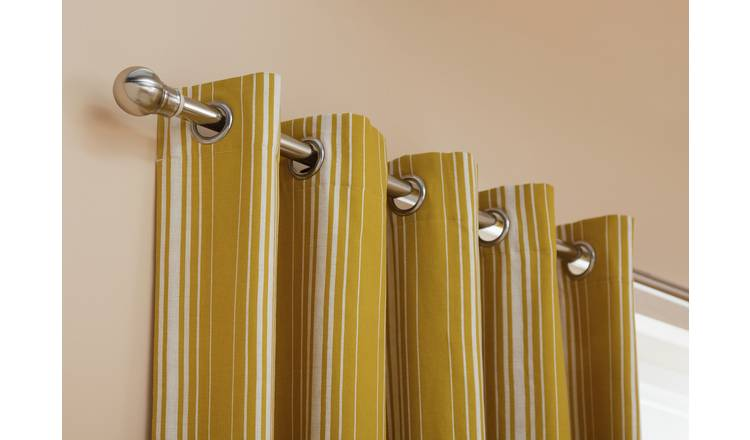 Habitat Striped Blackout Eyelet Curtains - Mustard