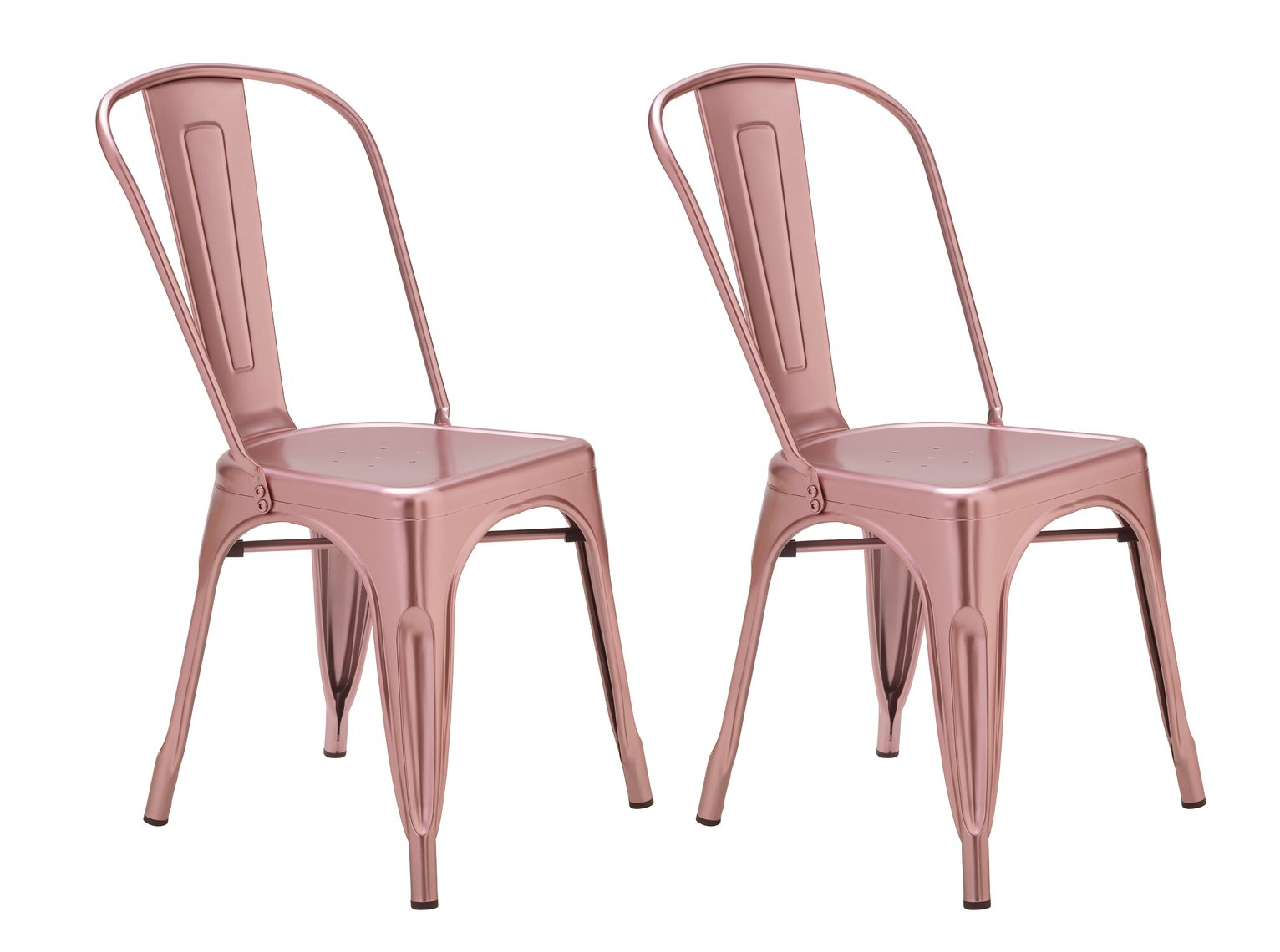 172 & Buy Argos Home Industrial Pair of Metal Dining Chairs - Pink | Dining chairs | Argos