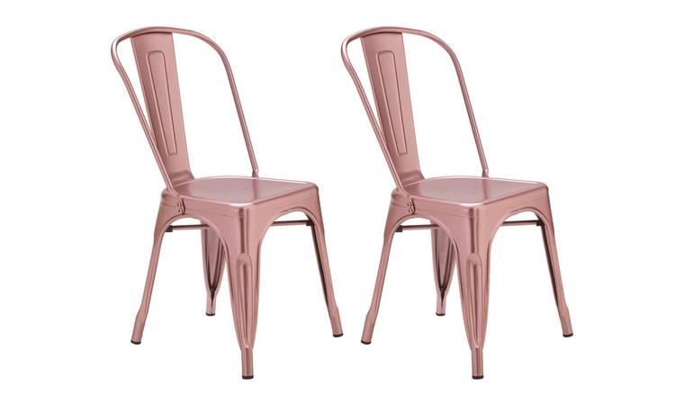 Sensational Buy Argos Home Industrial Pair Of Metal Dining Chairs Pink Dining Chairs Argos Uwap Interior Chair Design Uwaporg