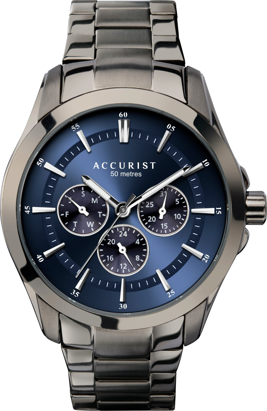 Accurist Men's Gunmetal Stainless Steel Bracelet Watch