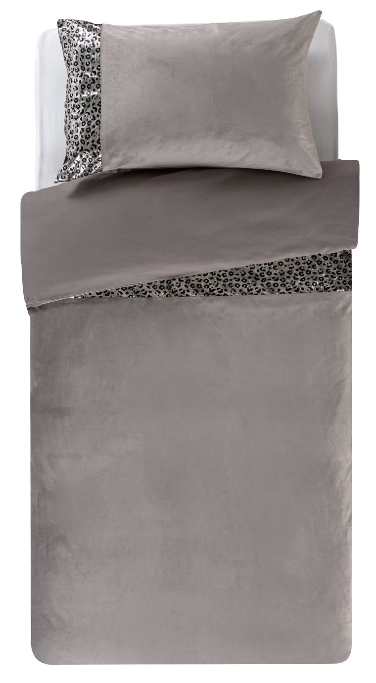 Argos Home Sequin Leopard Print Bedding Set - Single