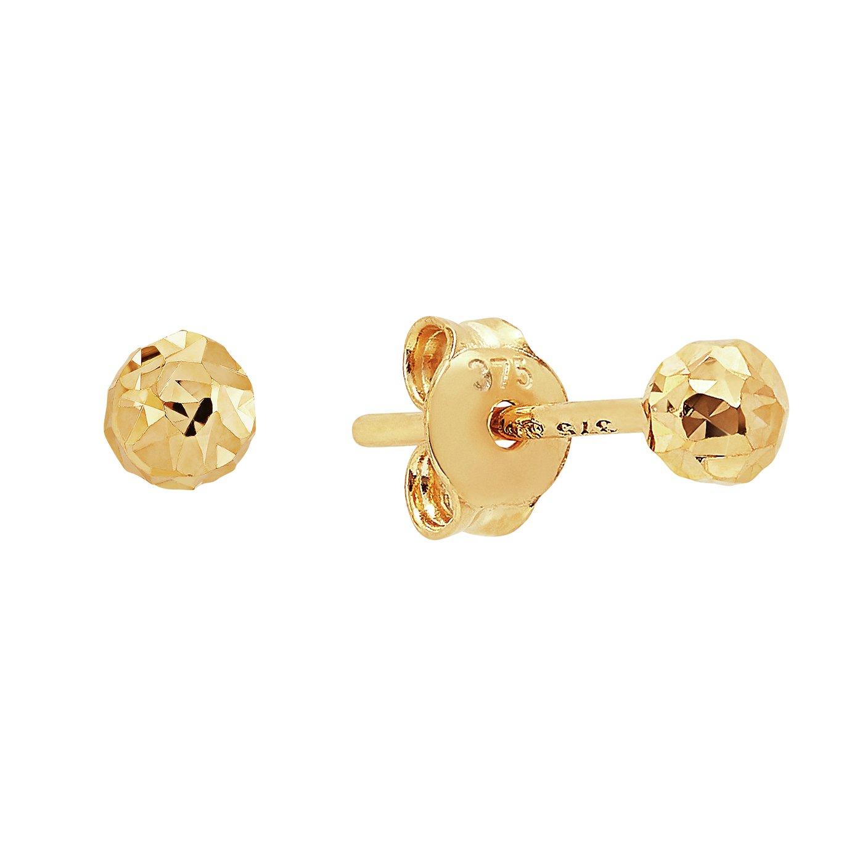 Revere 9ct Yellow Gold Diamond Cut Ball Stud Earrings