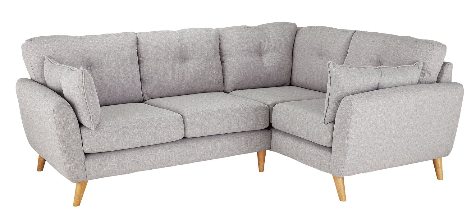 Argos Home Kari Right Corner Fabric Sofa - Light Grey