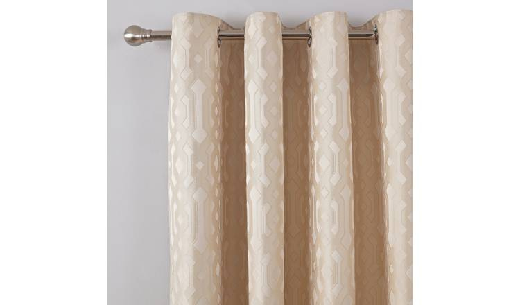 Buy Argos Home Jacquard Geo Lined Eyelet Curtains Champagne Curtains Argos