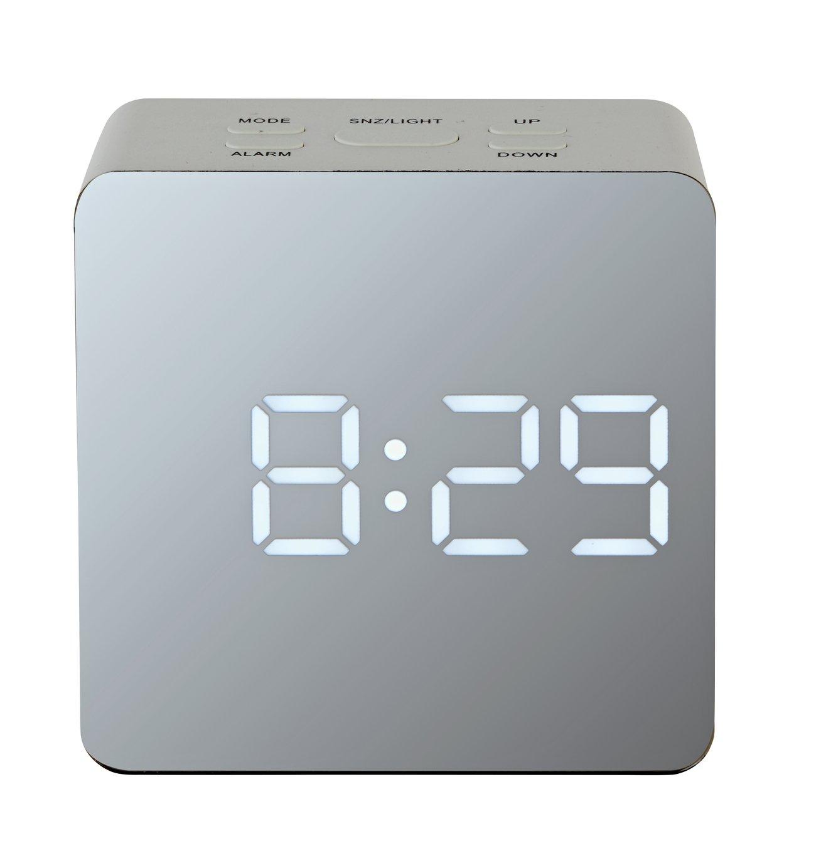 Acctim LED Mirrored Alarm Clock - White