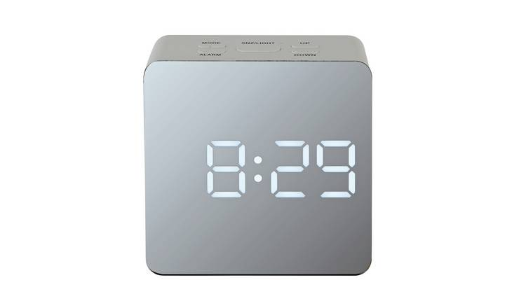 Acctim LED Mirrored Alarm Clock - White