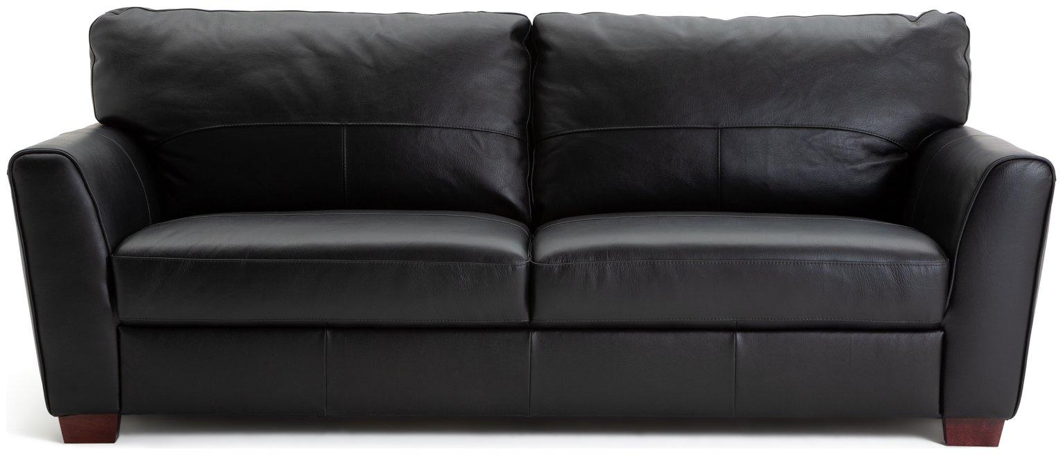 Habitat Milford 4 Seater Leather Sofa - Black