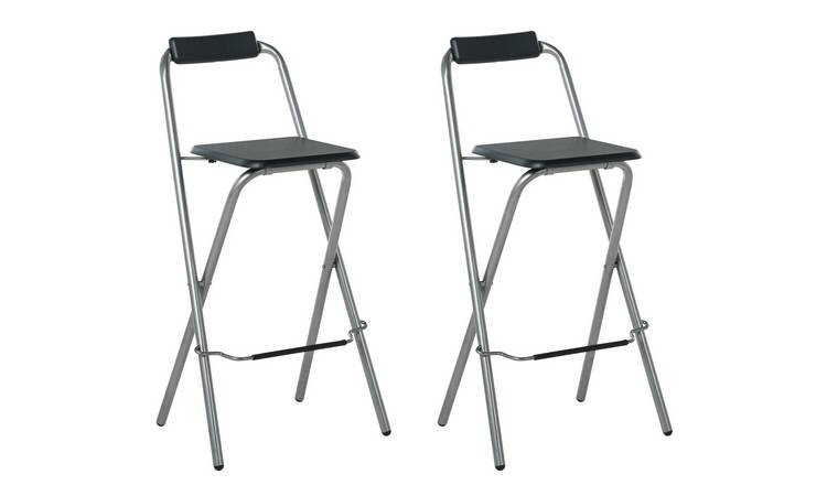 Awesome Buy Argos Home Pair Of Folding Metal Bar Stools Black Silver Bar Stools Argos Gmtry Best Dining Table And Chair Ideas Images Gmtryco