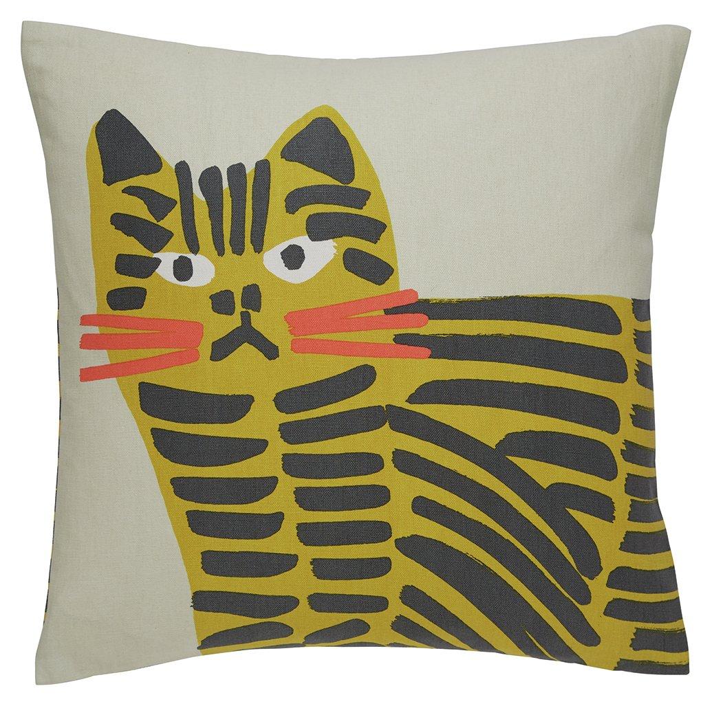 Habitat Grumpy Cat Print Cushion - Grey & Yellow - 45x45cm