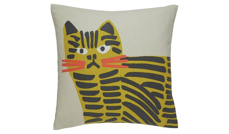 Habitat Grumpy Cat 45 x 45cm Printed Cushion - Grey & Yellow