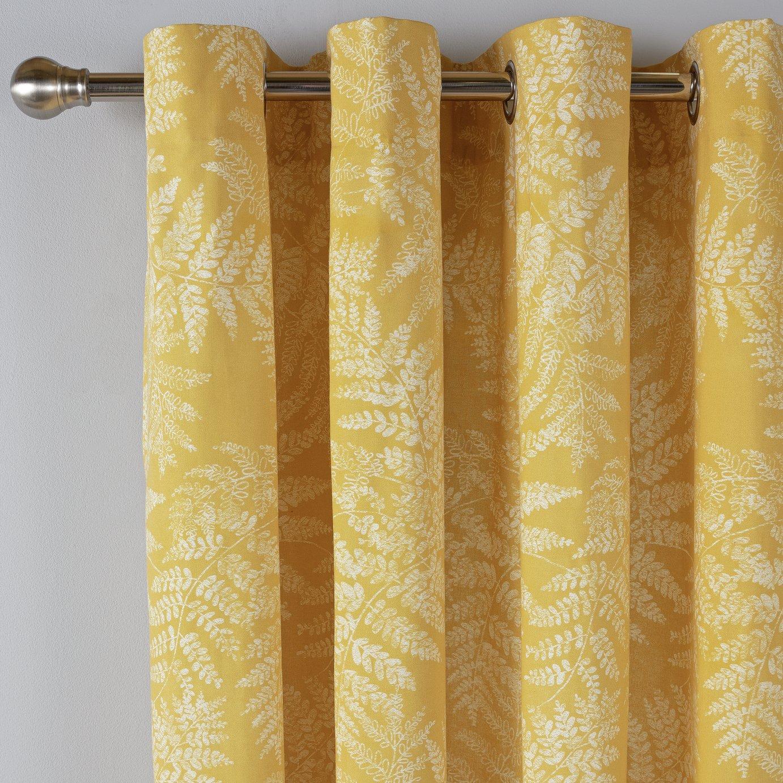 Argos Home Fern Leaf Lined Eyelet Curtains - Mustard