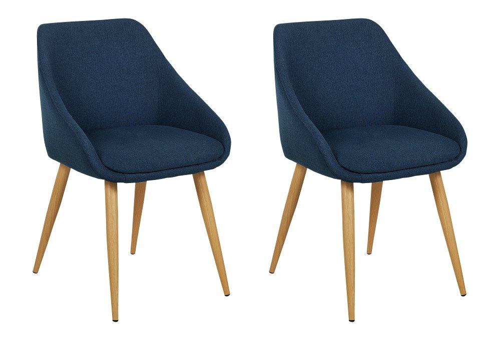 Argos Home Skandi Pair of Fabric Dining Chairs - Blue