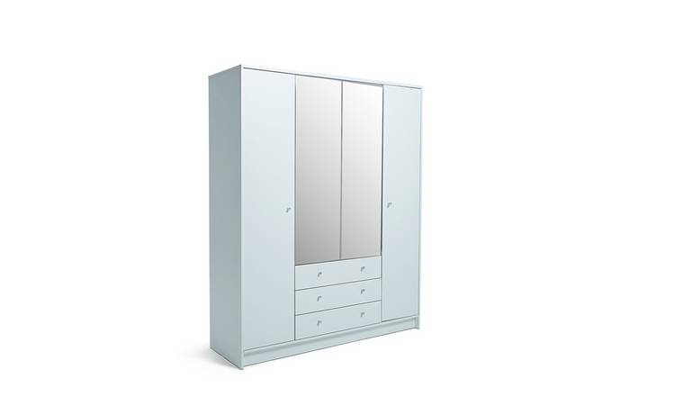 Habitat Malibu 4 Door 3 Drawer Mirror Wardrobe - White