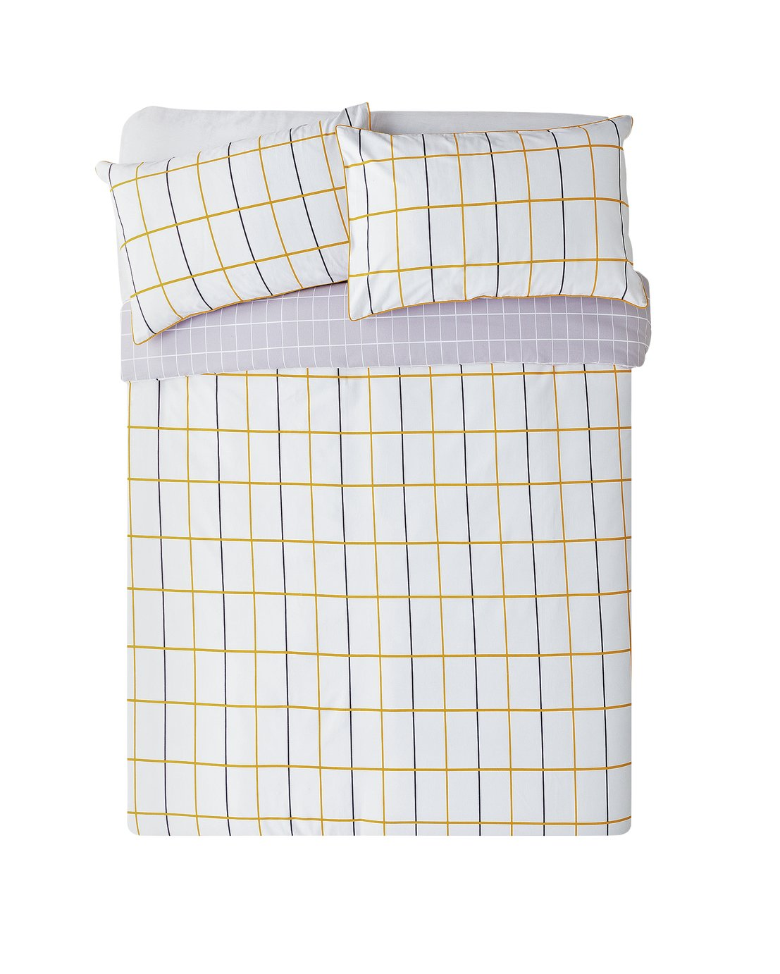 Argos Home Mustard & Grey Checked Bedding Set - Kingsize