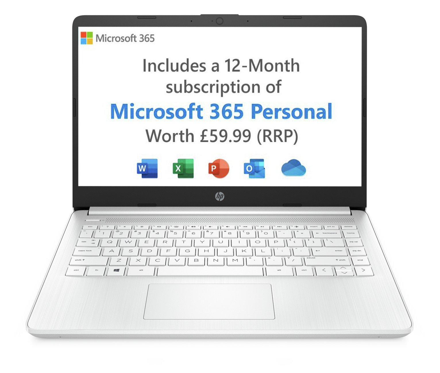 HP 14in Ryzen 3 4GB 128GB FHD Laptop - White