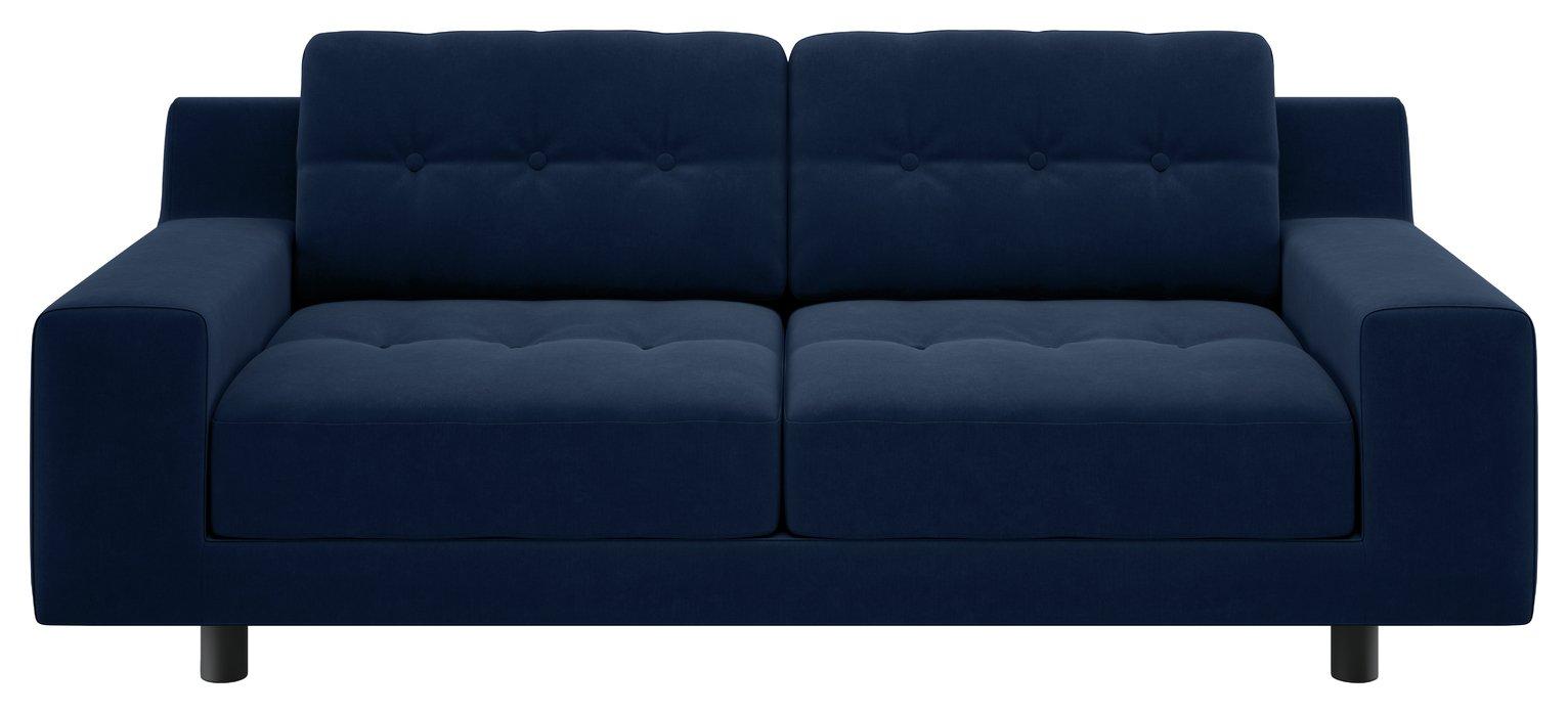 Habitat Hendricks 2 Seater Velvet Sofa - Navy