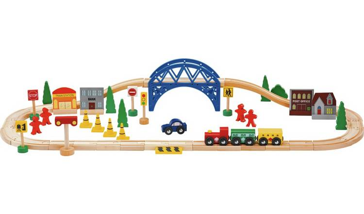 Chad Valley Wooden Train Set - 60 Piece