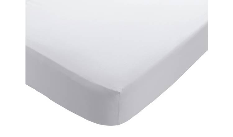 Habitat Washed White 30cm Fitted Sheet - Single
