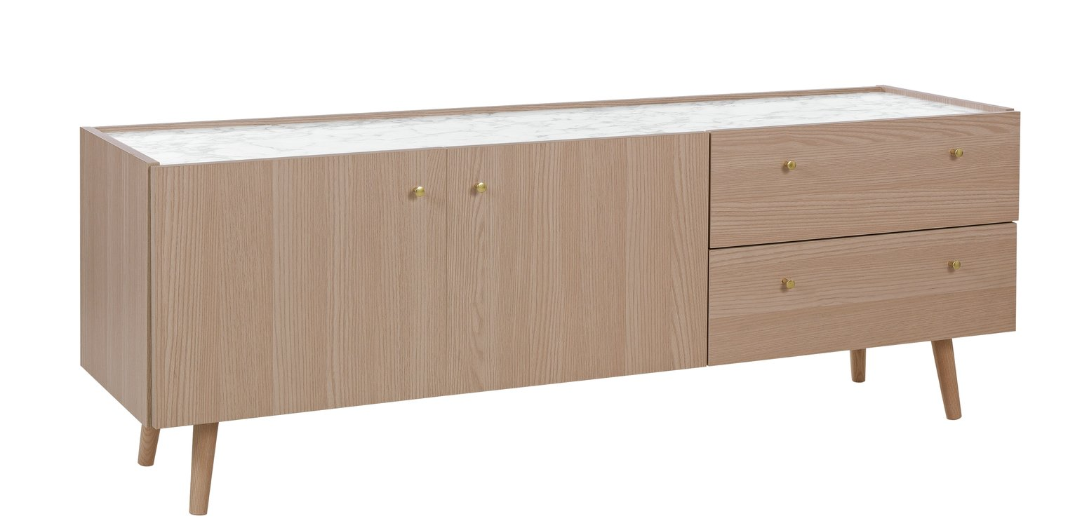 Argos Home Evelyn TV Sideboard - Marble and Light Oak Effect