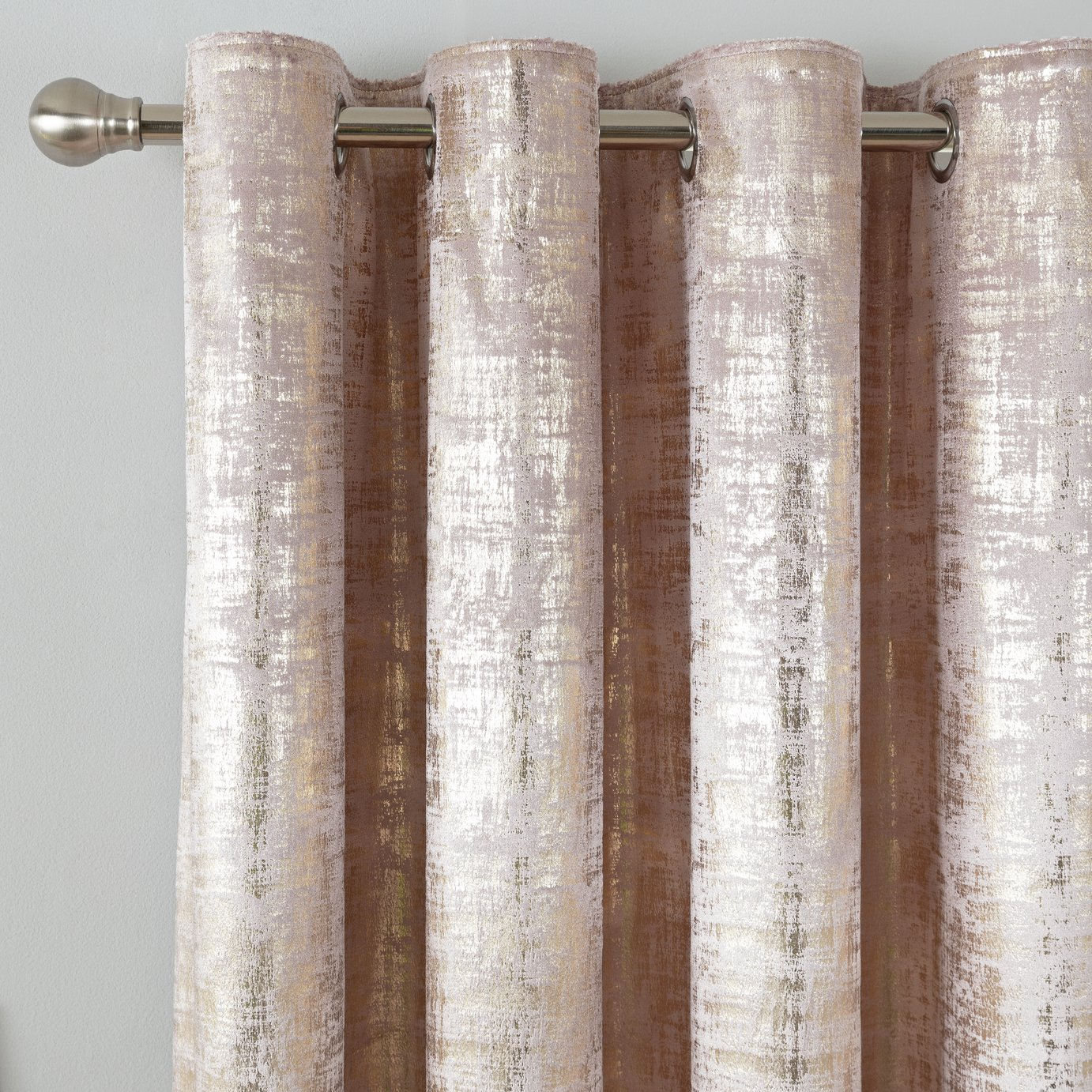 Argos Home Velvet Lined Eyelet Curtains - Blush