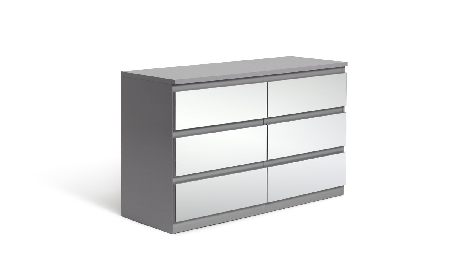 Argos Home Jenson Gloss 3+3Drw Mirror Chest of Drawers -Grey