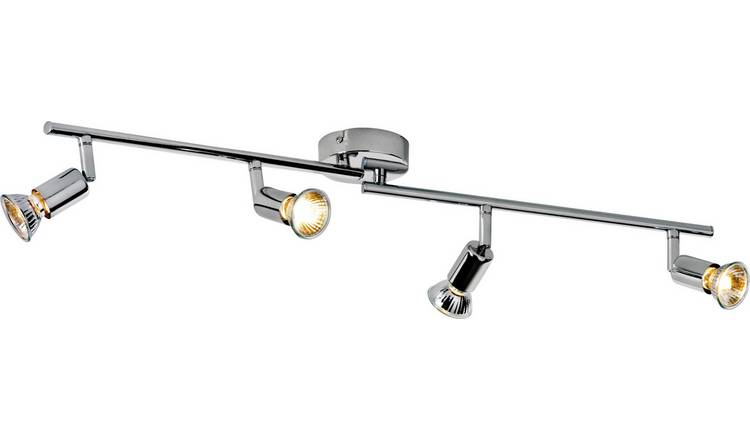Argos Home Cromer 4 Spotlight Ceiling Bar - Chrome Plated