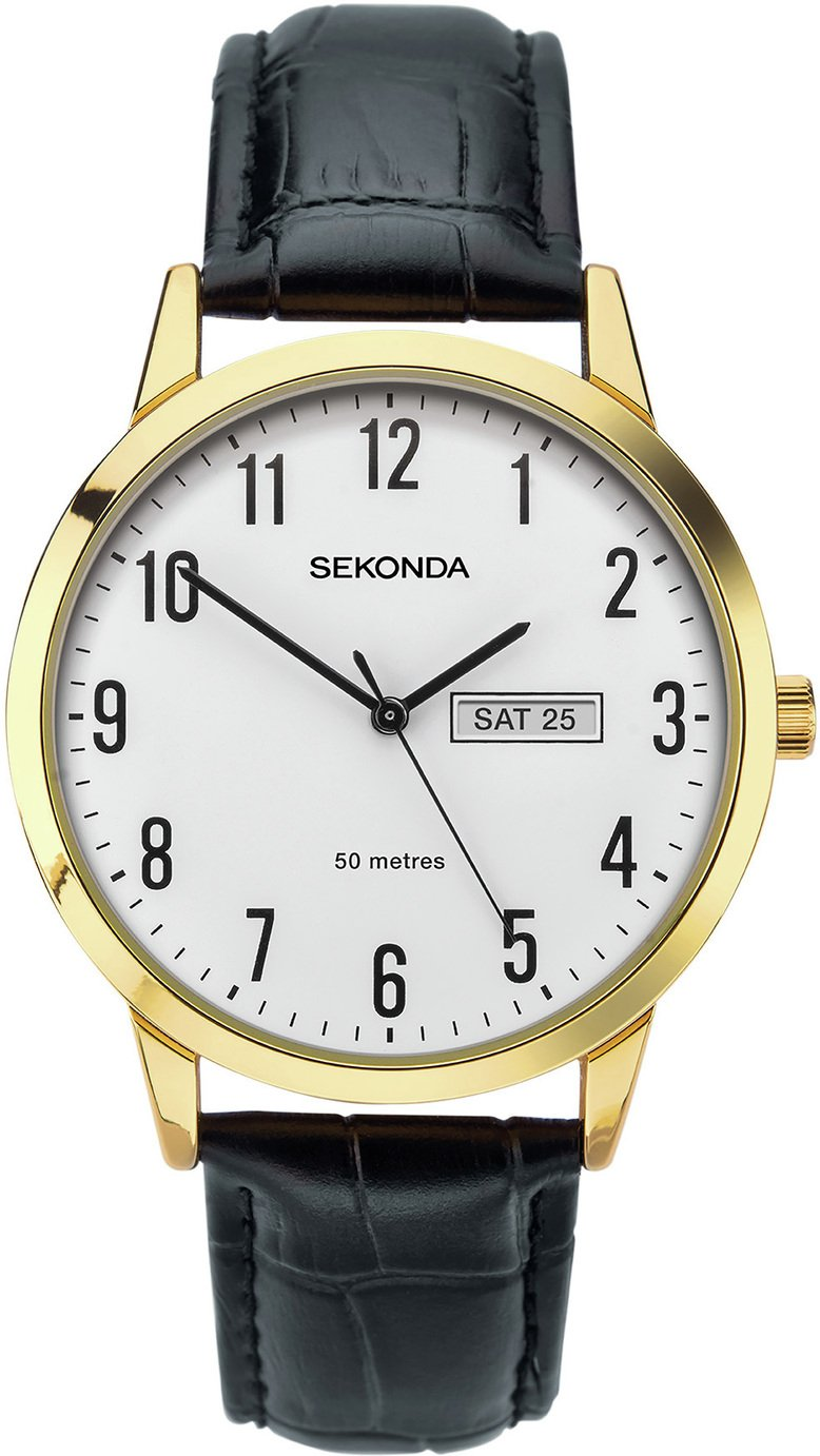 Sekonda Men's Easy Read Black Leather Strap Watch
