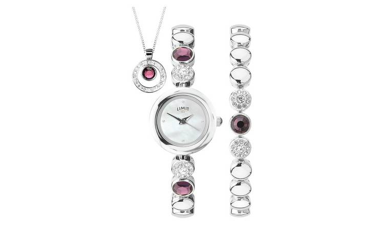 Limit Ladies' Silver Bracelet, Necklace and Watch Set