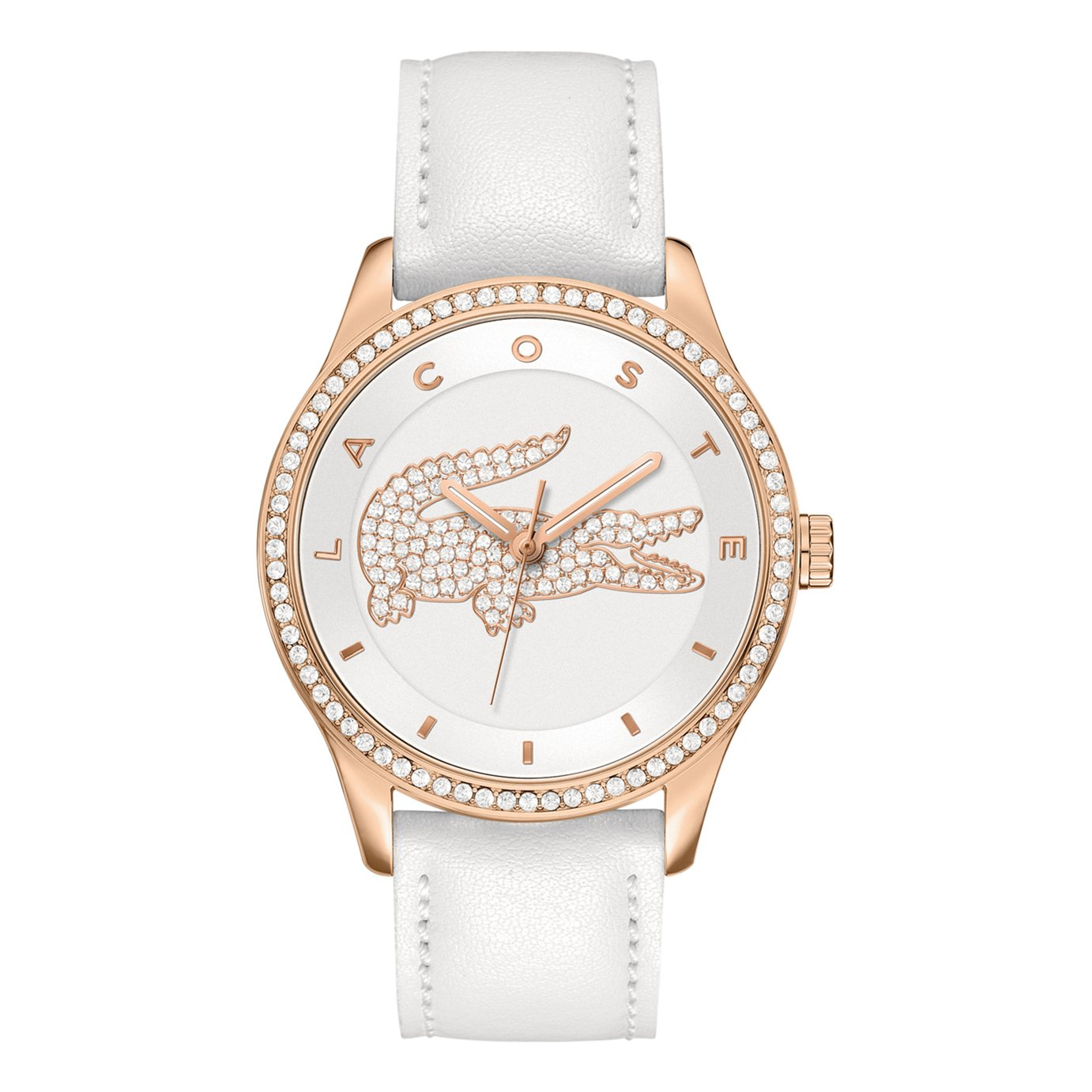 Lacoste Ladies White Leather Strap Watch