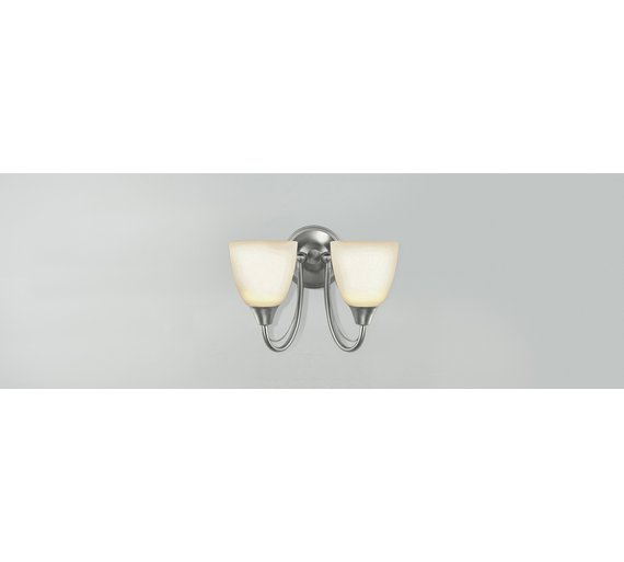 Buy home symphony 2 light frosted glass wall light silver at click to zoom mozeypictures Gallery