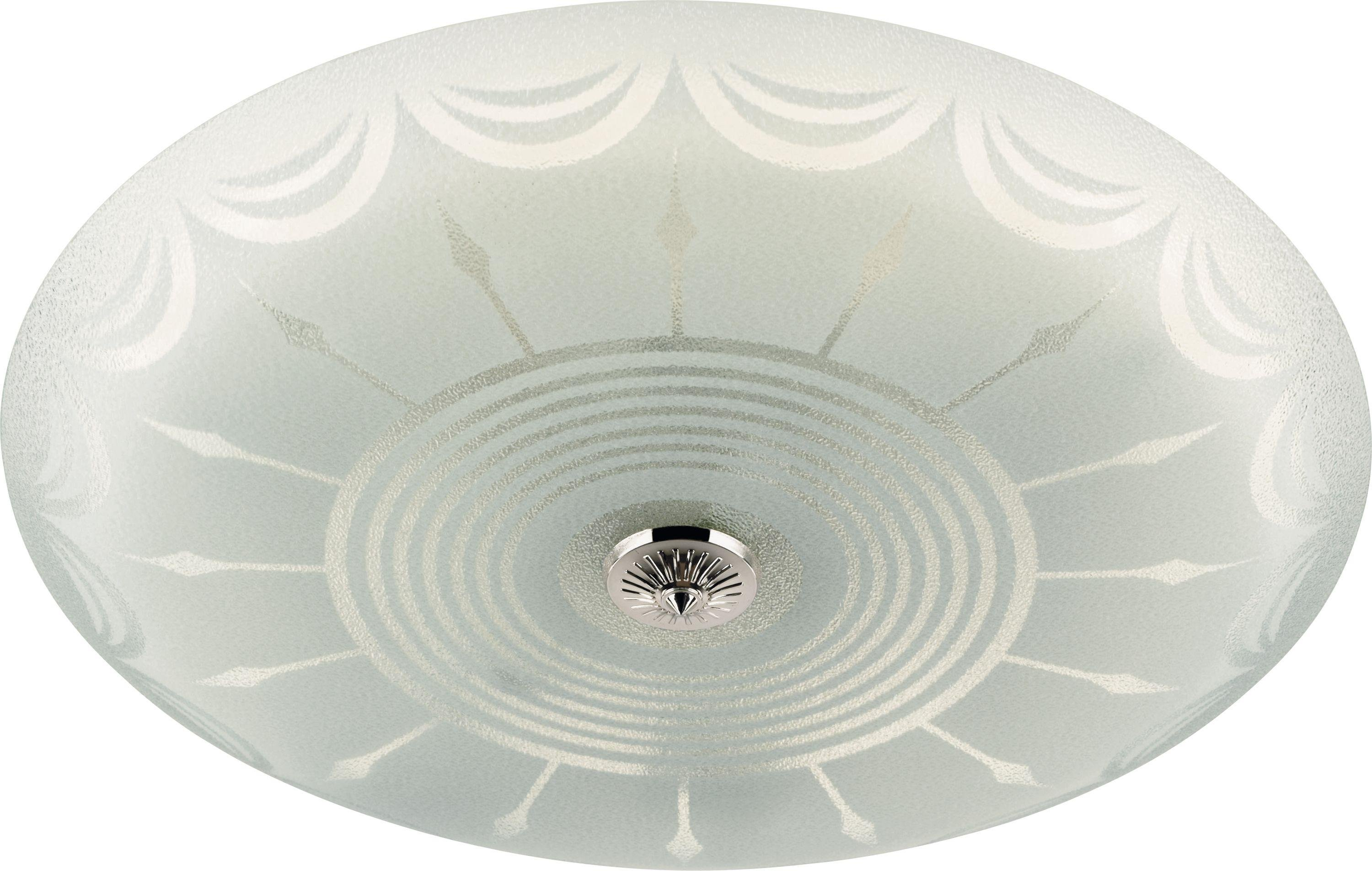 Circular Fluorescent Etch Flush Ceiling Fitting Frosted