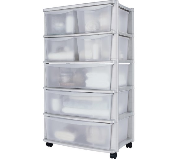 buy home 7 drawer plastic wide tower storage unit white at your online shop for. Black Bedroom Furniture Sets. Home Design Ideas