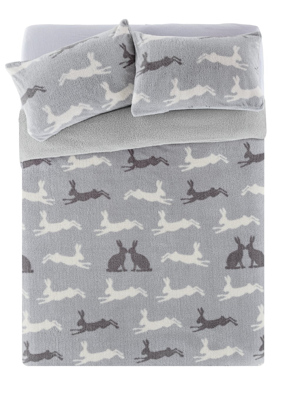 Argos Home Fleece Hare Bedding Set - Kingsize