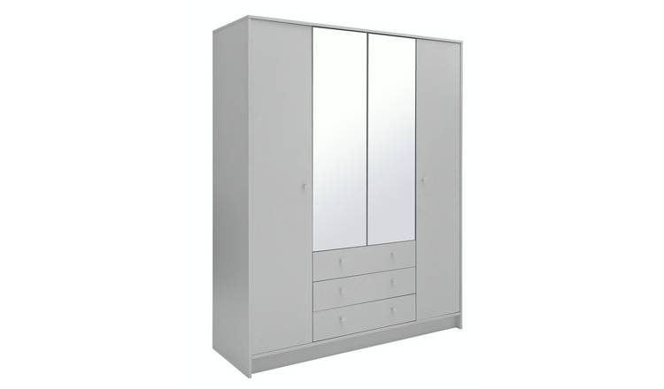 Habitat Malibu 4 Door 3 Drawer Mirror Wardrobe - Grey