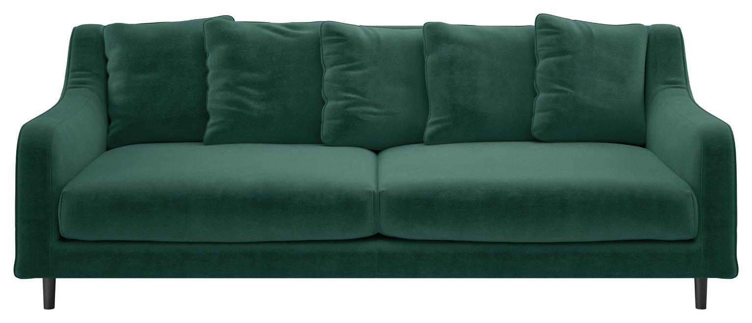 Habitat Swift 3 Seater Velvet Sofa - Emerald Green
