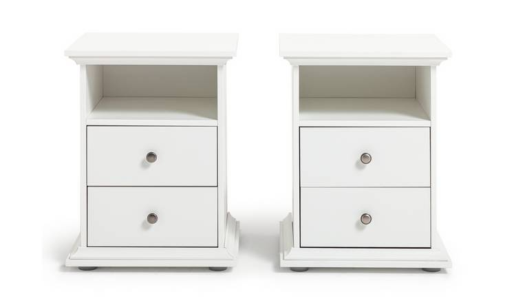 Habitat Heathland 2 Bedside Tables Set - White