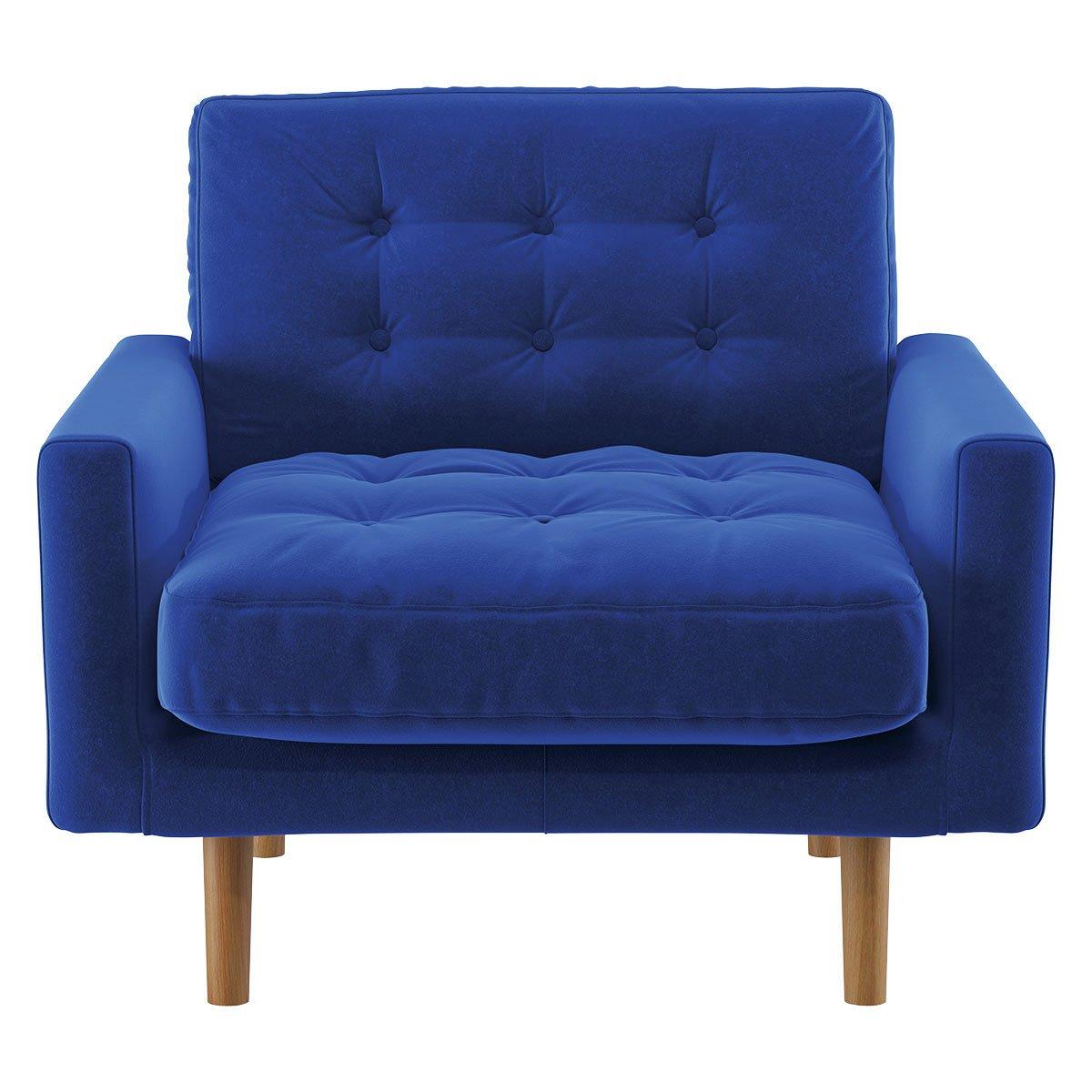 Habitat Fenner Cobalt Blue Velvet Armchair