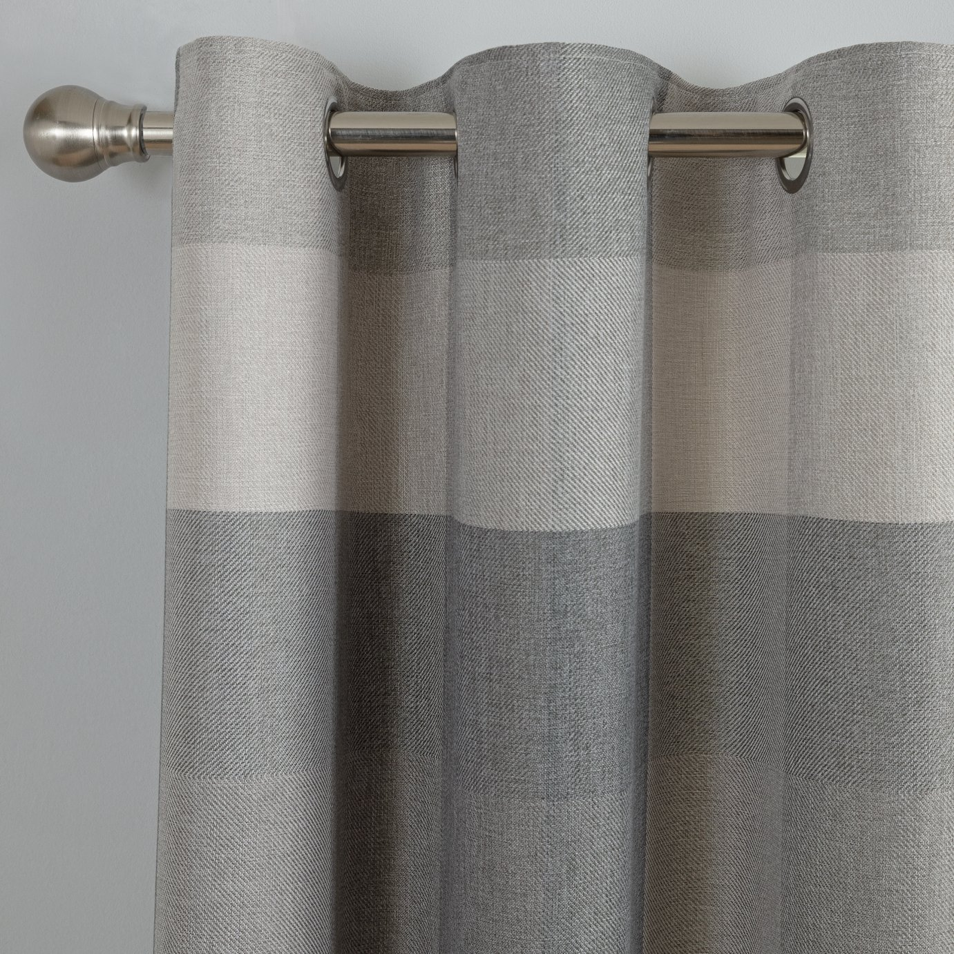 Argos Home Block Check Lined Eyelet Curtains - Grey