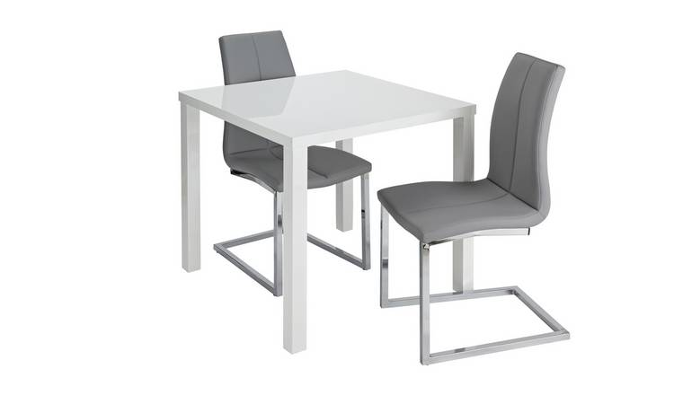 Argos Home Lyssa Gloss Dining Table & 2 Milo Chairs - Grey