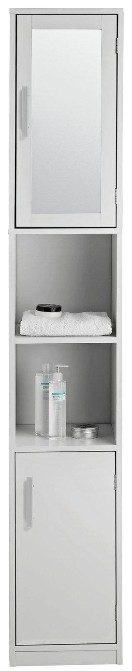 Argos Home Mirrored Tallboy Cabinet - White