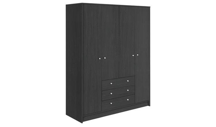 Habitat Malibu 4 Door 3 Drawer Wardrobe - Black Oak Eff