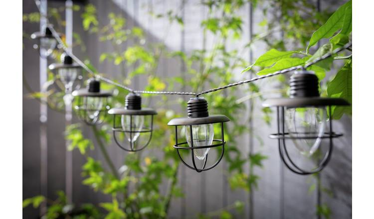 Habitat 10 Warm White Caged Bulb LED Solar String Lights