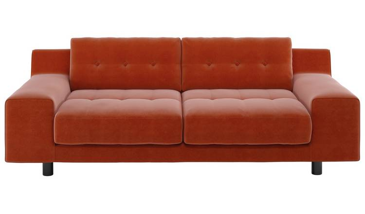 Habitat Hendricks 3 Seater Velvet Sofa - Orange