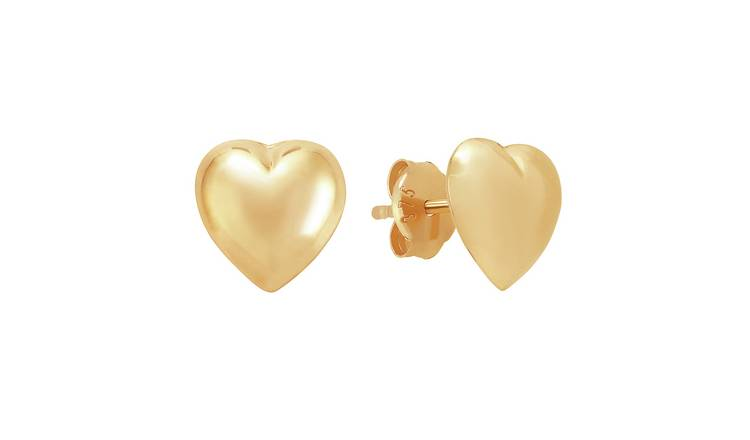 Revere 9ct Gold Puff heart Stud Earrings