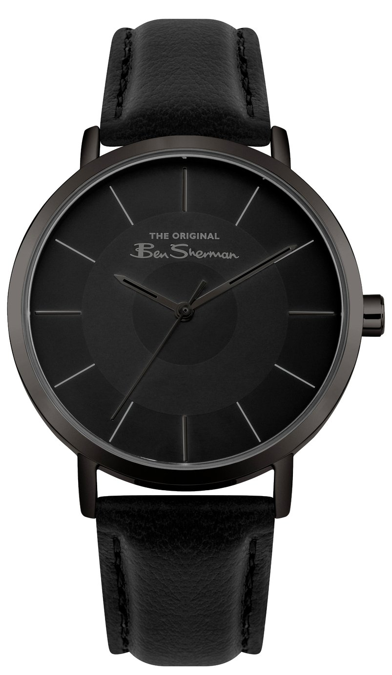 Ben Sherman Men's Black Faux Leather Strap Watch