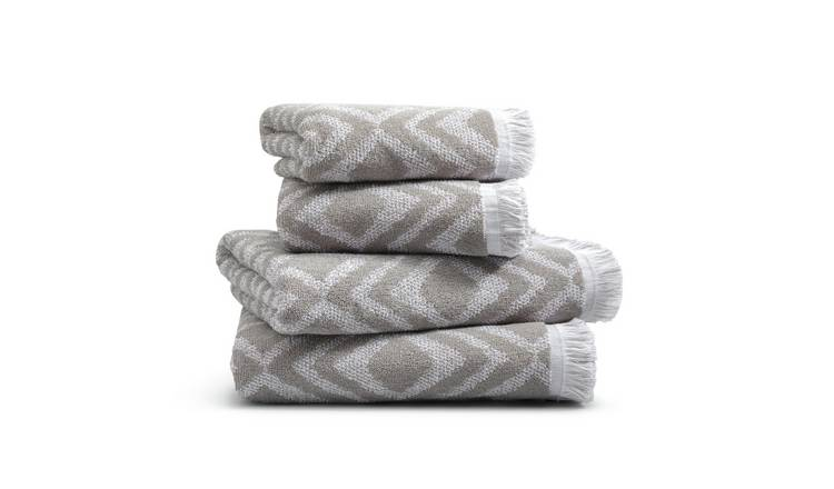 Habitat 4 Piece Diamond Geo Towel Bale - Grey