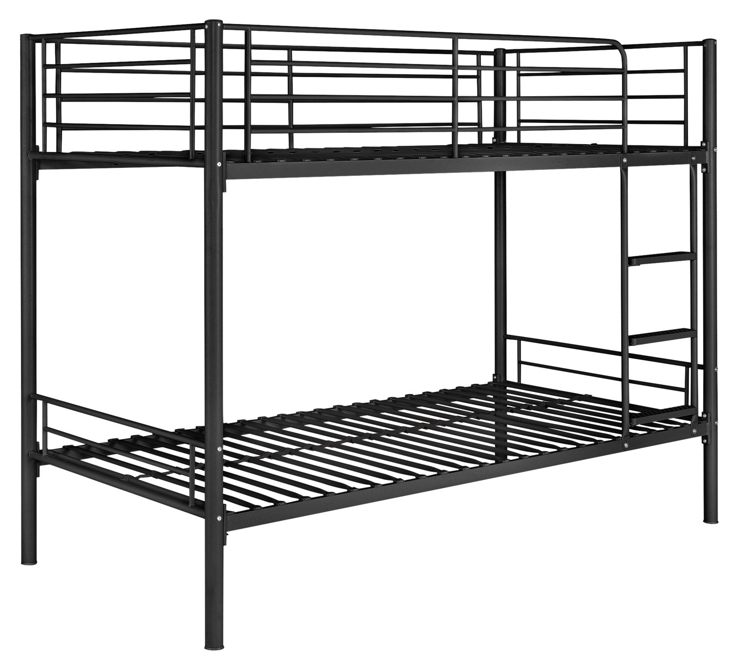 Argos Home Mason Black Metal Bunk Bed & 2 Kids Mattresses