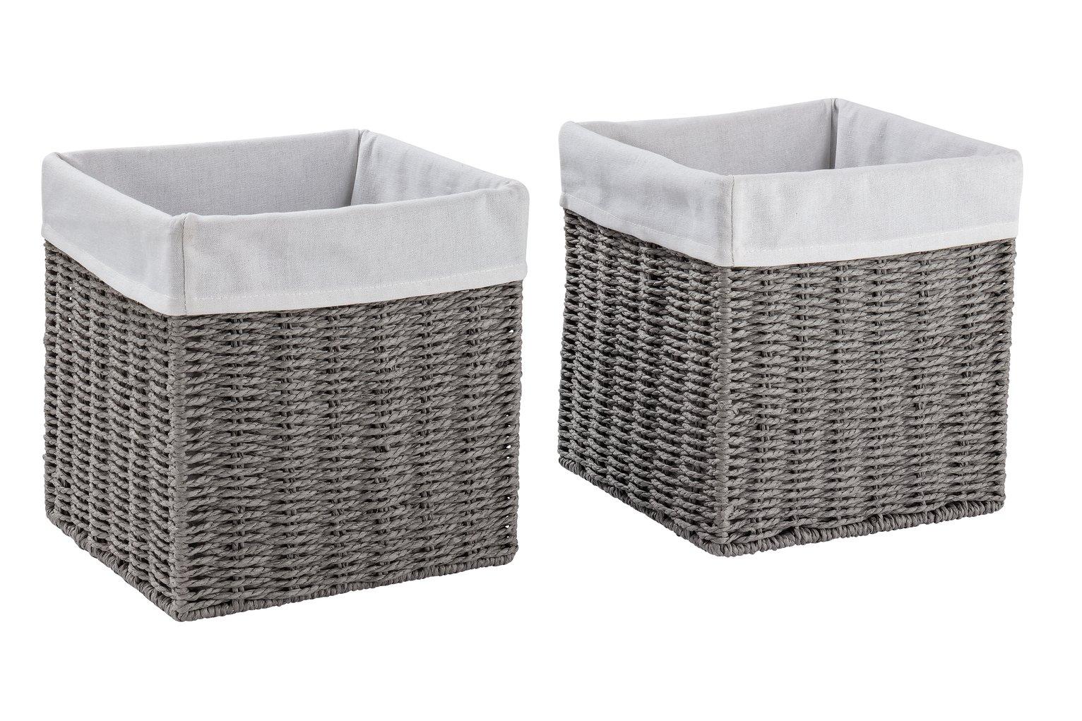Argos Home Set of 2 Rope Storage Baskets - Grey