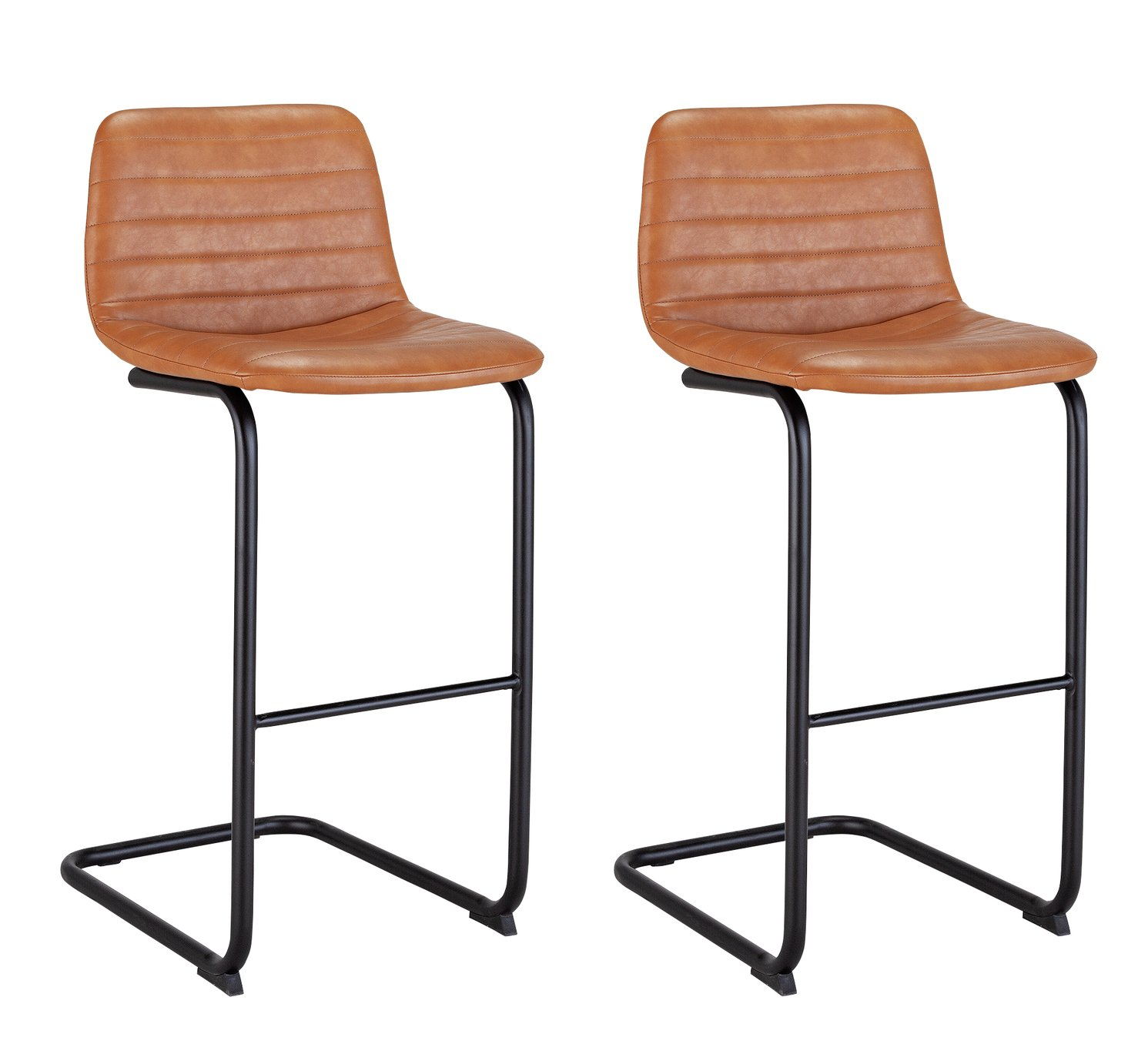 Argos Home Logan Pair of Faux Leather Bar Stools - Tan