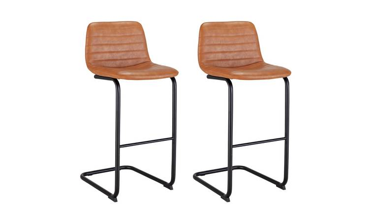 new arrival 3455e 80ccf Buy Argos Home Logan Pair of Faux Leather Bar Stools - Tan | Bar stools |  Argos
